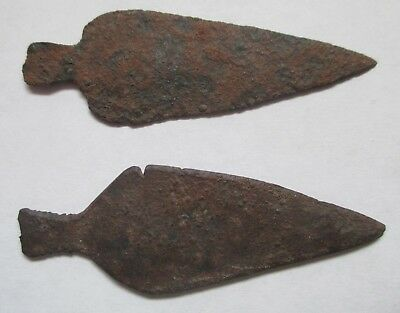 Two Authentic Native American Plains Indian Metal Arrowhead Points
