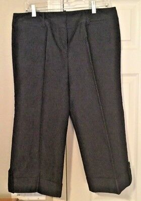 Larry Levine Stretch Denim Cuffed Cropped Pants - Size 12