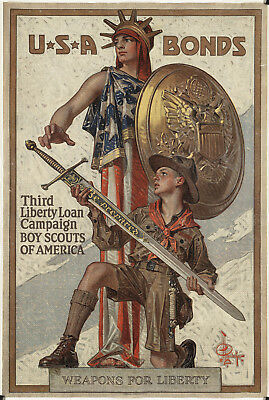 """1940s """"U.S.A Bonds Weapons For Liberty"""" Vintage Style WW2 Army Poster -12x18"""