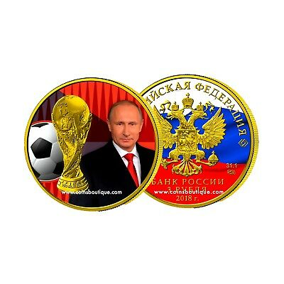 PUTIN-Fifa World Cup 1oz silver coin 24K GILDED partly colored Russia 2018