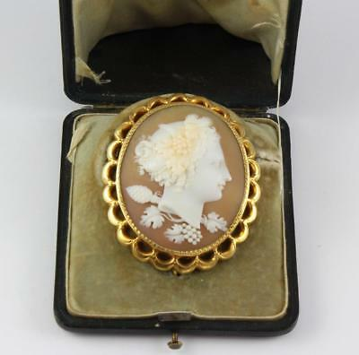 Antique Victorian 15Ct Gold Brooch With Shell Cameo Bacchante In Original Case