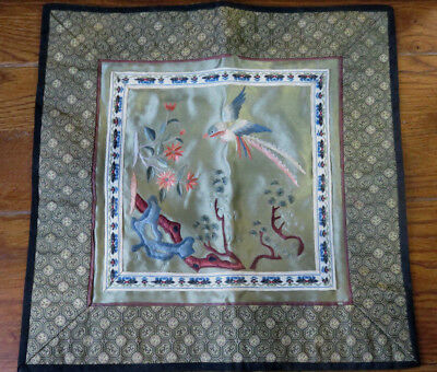 """Antique Japanese Silk Embroidery 10 3/4"""" Table Scarf"""