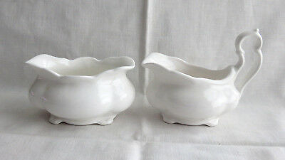 Antique Pure White Porcelain Stackable Sugar Bowl And Creamer