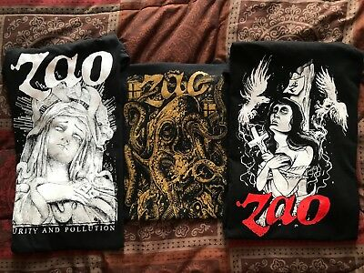Zao T-shirt Lot of 3 - Men's XL Metal - Well Intentioned Virus, Purity Pollution