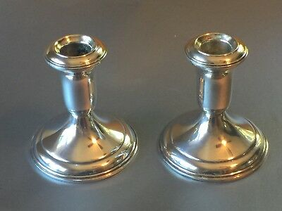 Lord Silver In Sterling Weighted Pair of Candlesticks, Great Condition