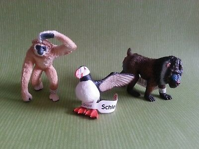 Schleich Animals Adult Gibbon, Male Mandrell and Puffin - 3 pcs (Monkey Ape)