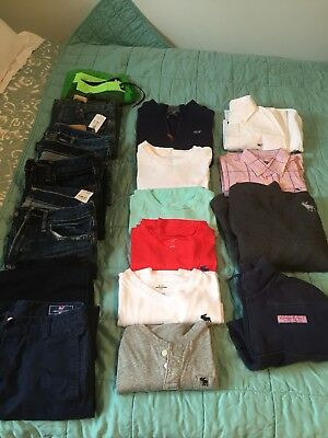 LOT OF 16 BOYS SIZE  14-16 Abercrombie, Vineyards Vines used and new .