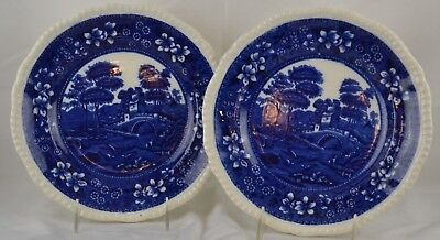 "Copeland Spode Tower Set 2 Blue Plates Lunch Plates 9 3/8"" Old Mark Gadroon"