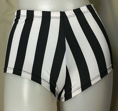 NWT Pumpers B&W Stripe Shiny Lycra Shorts  Adult M or S