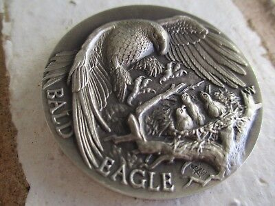 925 LONGINES STERLING SILVER DETAILED BALD EAGLE 3D Coin 1.29oz
