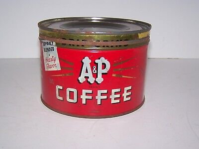 Vtg 1 Lb  A & P   Coffee Tin Regular / Drip Grind 1940's 1950's Country Store