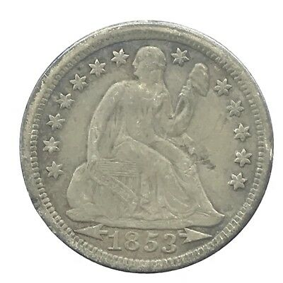 * 1853 10c Seated Liberty Silver Dime W/ Arrows - 90% U.S. Coin - Lot#2