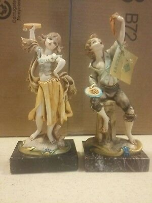Lot of  2 Vintage  SIMONETTI FONTANINI MARBLE BASE FIGURINE -  DEPOSE ITALY