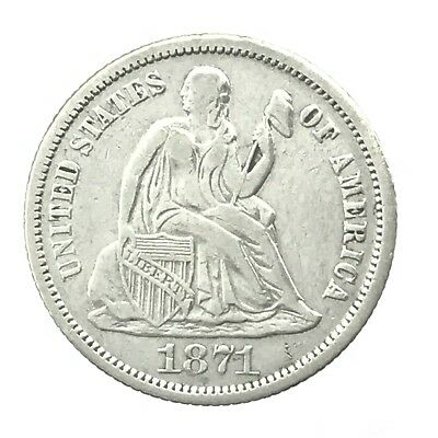 * 1871 10c Seated Liberty Silver Dime - 90% U.S. Coin