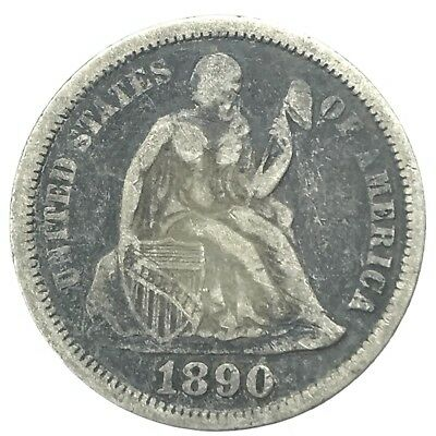 * 1890 10c Seated Liberty Silver Dime - 90% U.S. Coin
