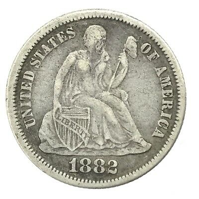 * 1882 10c Seated Liberty Silver Dime - 90% U.S. Coin