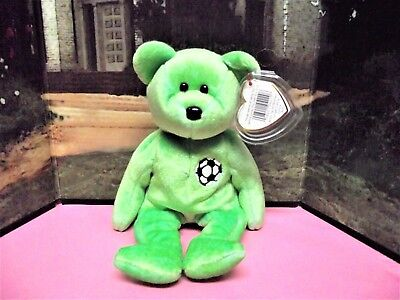 """Ty Beanie Babies 1999 """"Kicks"""" Bear Soccer, Retired New With Offical Tags"""