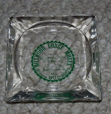 Vintage Glass hotel Ashtray Boxwood Lodge Motel Baltimore MD Americana USA