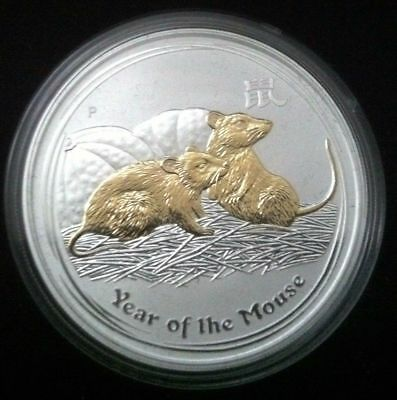 2008 $1 Year of the Mouse 1oz  Silver Gilded edition coin SCARCE