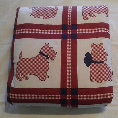 QUEEN Scottie BEDSPREAD Duvet Quilt Blanket SHAMS Scottish Terrier Scotty Plaid