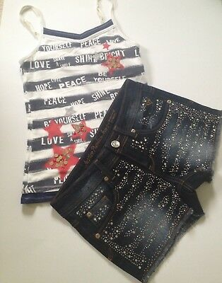JUSTICE Girls Graphic Sequin CAMI Top Denim Sequin SHORTS July 4th Size 10 EUC