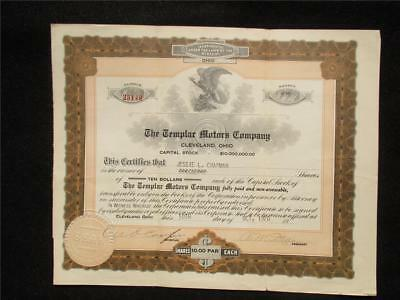 Stock Certificate-Templar Motors Co.- Cleveland Ohio-One Share Of Stock Oct.1920