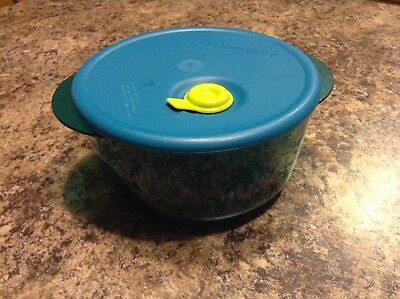 Tupperware 3 1/2 Cup Vent N Serve Small Round Container Microwave Peacock Blue