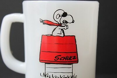 "VINTAGE Anchor Hocking Snoopy ""Curse You Red Baron"" Coffee Mug Fire King"