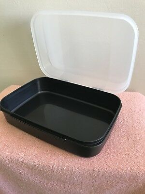 New Tupperware Storz A Lot Hinged Flip Top Container Black NOS