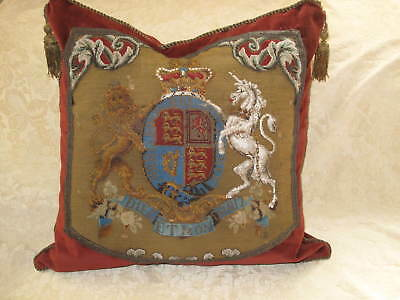 19th CENTURY BEADED NEEDLEPOINT TAPESTRY ROYAL COAT OF ARMS ANTIQUE PILLOW