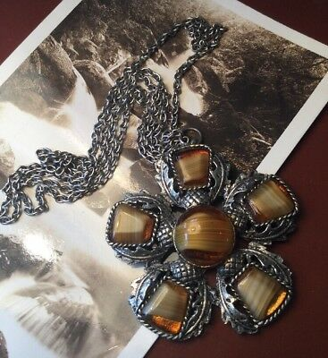 Vintage 60s Scottish thistle brown Glass silver pot metal pendant necklace