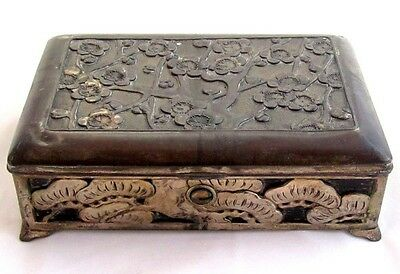 "Very Old Antique Silver Plated Asian Chinese Blossom 6"" Jewelry Box*Trinket*D448"