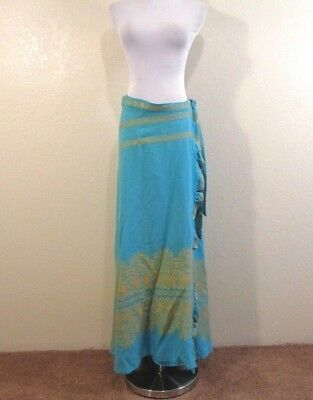 60s TURQUOISE WITH GOLD METALLIC EMBROIDERED A-LINE WRAP BOHO MAXI SKIRT O/S