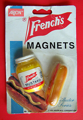 Vintage French's  Refrigerator Magnets Hot Dot & Mustard 1995 Mint On  Card