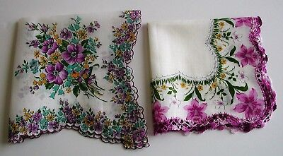 2 lg Vintage Floral handkerchiefs scalloped Mint purple daffodils
