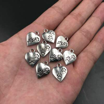 20x Tibetan Silver Dog Paw Heart Charm Pendant 13*17MM For DIY Bracelet/Necklace