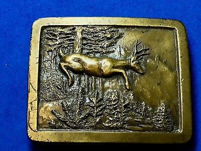 1977 Vintage Indiana Metal Craft deer in nature  Belt Buckle