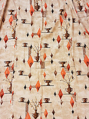 Mid Century Modern Geometric Atomic Barkcloth Textured Cotton Curtains Drapes