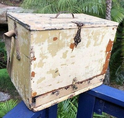 Antique Vintage Fishing Tackle Box, Timber with galvanized Lid, 1 Drawer