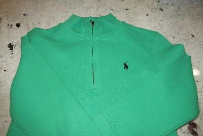 Nwt Polo Ralph Lauren Green Boys 5 Waffle Knit Cotton Pullover Active