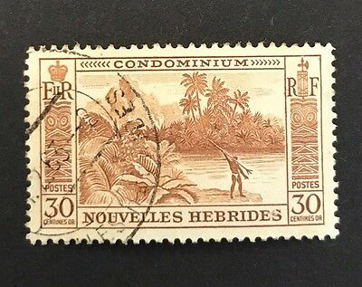 New Hebrides (French) 1957 30c Brown River Scene and Fisherman used. SG F101