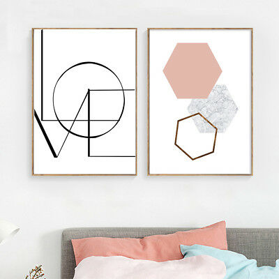LOVE Geometry Canvas Poster Abstract Print Wall Art Painting Nordic Decoration