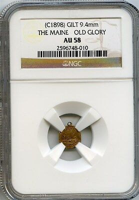 Scarce 1898 California Fractional Gold / The Maine - Old Glory / NGC AU58