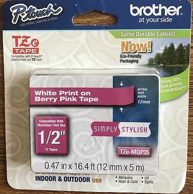 "Brand new Brother P-touch TZe-MQP35 1/2"" White Print on Berry Pink Tape"