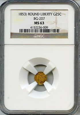1853 Round Liberty G25C California Fractional Gold / BG-207 NGC MS63