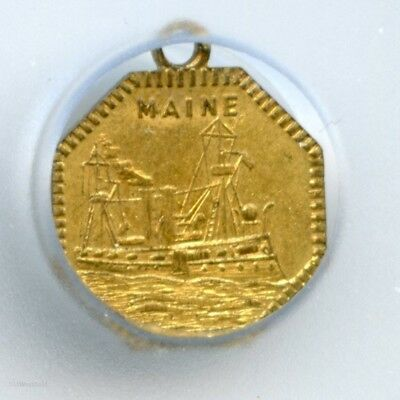 HR6 (1898) U.S.S. Maine Battleship - Old Glory California Gold Type Charm MS63