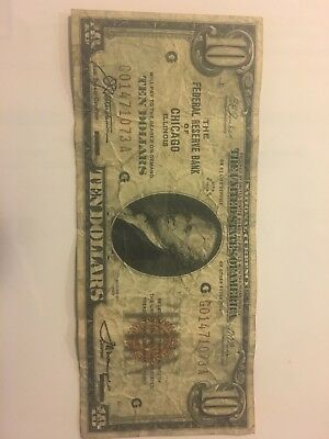 USA CHICAGO FEDERAL RESERVE BANK NOTE, Illinois 1929 $10