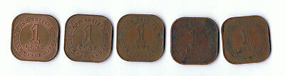 Commisioners Of Currency Malaya 1 Cent Coins