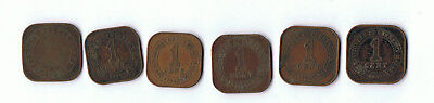 Straights Settlement And Commisioners Of Currency Malaya 1 Cent Coins Lot