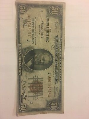 1929 $50 FRBN The Federal Reserve Bank of Kansas City, MO Fr #1880-J